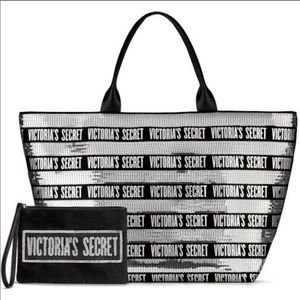 Victoria's Secret Silver Sequin Tote and Wristlet